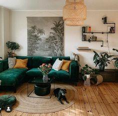 Living Room Goals, Living Room Green, Boho Living Room, Home And Living, Living Place, Bohemian Living, Living Rooms, Aesthetic Room Decor, Home Decor Inspiration