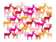 Warm Deer Pattern Print by Avalisa at Art.com
