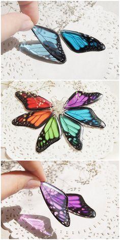 Butterfly Earrings Resin Rainbow Butterfly Wing jewelry Transparent Earrings Dangle Morpho ecofriendly earrings girlfriend gift for mom