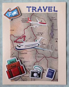 Travel Card Travel Theme Decor, Travel Themes, Travel Ideas, Making Gift Boxes, Card Making, Scrapbook Cards, Scrapbooking, Travel Cards, Travel Journals
