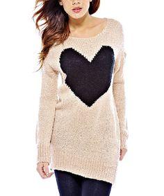 Look at this #zulilyfind! Pink & Black Heart Scoop Neck Sweater #zulilyfinds