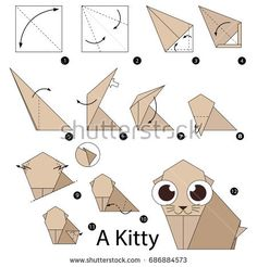 Step by step instructions how to make origami A Kitty. Easy Origami, How To Make Origami, Paper Folding, Step By Step Instructions, Calming, Royalty Free Stock Photos, Paper Crafts, Kitty, Printables