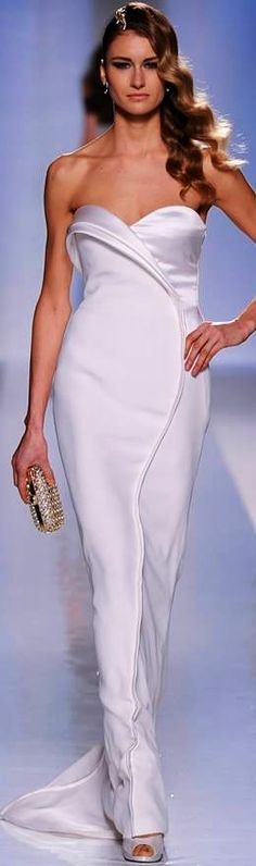 Fausto Sarli Couture (S/S 2013) - Beautiful flowing simplicity of dazzling liquid white!