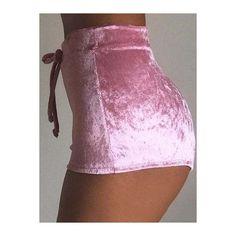 Velvet Drawstring Waist Mini Shorts ($13) ❤ liked on Polyvore featuring shorts, velvet hot pants, hot pink shorts, velvet shorts, hot short shorts and micro shorts