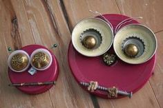 Items similar to Set of 2 -- Whooo Loves Junk - Junk Owls - mixed media tiny art - momma and baby on Etsy Tin Can Crafts, Owl Crafts, Metal Crafts, Crafts For Kids, Arts And Crafts, Garden Owl, Garden Crafts, Tin Art, Recycled Crafts