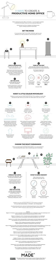 9 ways to create a productive home office #infographic #Office #Home