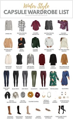 In need of some winter outfit inspiration? Maybe this winter capsule wardrobe will help you out! It's the capsule wardrobe we're using for the PMT Winter Challenge where I'll help you turn this into 48 outfits! Capsule Outfits, Fall Capsule Wardrobe, Fashion Capsule, Mode Outfits, Fashion Outfits, Womens Fashion, Fashion Tips, Capsule Wardrobe How To Build A, Staple Wardrobe Pieces