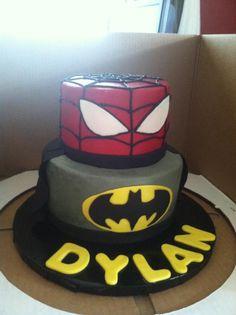 Spiderman and Batman 2 Tier Cake