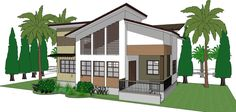 complete 1-storey single detached house floor plan, elevations, structural, electrical, plumbing, and perspective