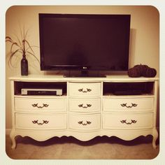 Vintage inspired TV stand with drawers