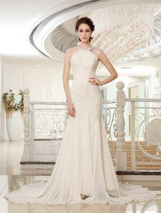 c1cef87a20b31e Vestido de novia de chifón de color marfil con escote Halter de estilo  atractivo - Milanoo