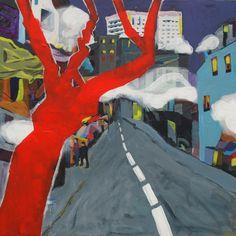 """EvaSchlitzer """"Smog in the city"""", 100 x 100, Acryl auf Leinen"""
