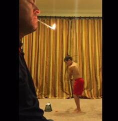 Dad lets son knock lit candle out of his mouth with golf ball, is most-trusting dad ever> Golf Ball, Knock Knock, Balls, Sons, Candles, Let It Be, Decor, Decoration, Decorating