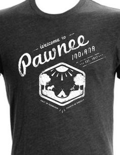 "Welcome to Pawnee //   A vintage style t-shirt paying homage to the city of  Pawnee, it's hefty citizens, The Pit, and of course, Lil' Sebastian.    The line at the bottom read ""First in friendship, fourth in obesity""—one of the many Pawnee city mottos.    NBC's Parks & Rec Summer T-shirt contest."