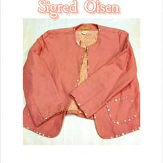 NWT - SIGRED OLSEN ROSE COLOR JACKET NWT SIGRED OLSEN SZ 6 JACKET    ROSE COLOR, DETAILED COLORED TRIM    CLASP CLOSING, 2 POCKETS AMAZING COLOR WITH FOCUS TO DETAIL SIGRED OLSEN Jackets & Coats Blazers