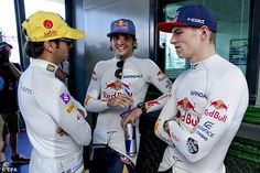 Verstappen, right, told Toro Rosso that their team strategy was a joke after Sainz, centre, blocked him off