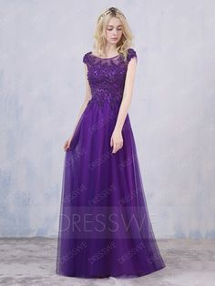 Buy Concise Beading Applique Boat Neck Cap Sleeves Lace-up A-line Floor Length Evening Dress  Online, Dresswe.Com offer high quality fashion,Price: USD$119.09