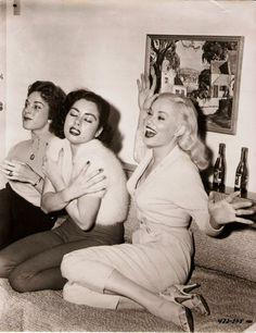 """anything-classic: Valerie Reynolds, Jeanne Carmen and Mamie Van Doren at the """"Untamed Youth"""" post-premier party, 1957."""