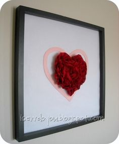 Framed Ruffly Heart - Learn how to make a Valentine that doubles as DIY home decor for small spaces.