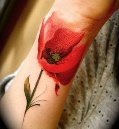 flower tattoos, forearm tattoos, tattoo designs – The Unique DIY Watercolor Tattoo which makes your home more personality. Collect all DIY Watercolor Tattoo ideas on flower tattoos, forearm tattoos to Personalize yourselves. Flower Watercolor Tattoo, Poppies Tattoo, Watercolor Poppies, Tulip Tattoo, Watercolor Painting, Watercolor Tiger, Red Poppies, Lilies Tattoo, Watercolor Feather