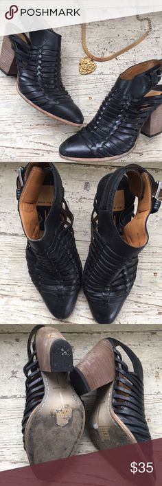 Dolce Vita Wooven Black Booties Gorgeous and a step up from boring black Booties 💛 size 8, on the smaller size. Buckle ankle, open heel. Dolce Vita Shoes Ankle Boots & Booties