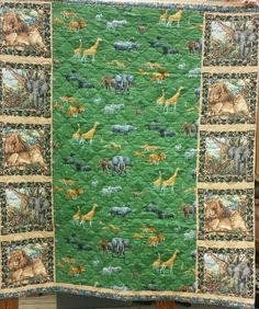 Quilt Jungle Wildlife Safari Wild Animals Elephant Lion Zebra 78 x76 Full Cotton