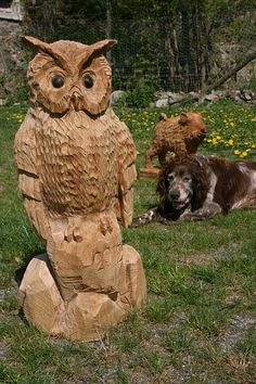 carved with the chainsaw – Woodworking 2020 Tree Carving, Wood Carving Art, Wood Art, Wood Carvings, Art Sculpture En Bois, Lion Sculpture, Wood And Metal, Metal Art, Great Horned Owl