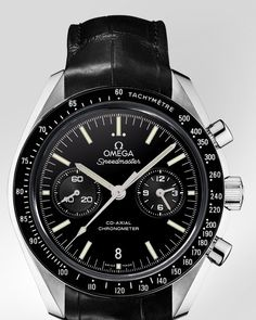 OMEGA Watches: Speedmaster Moonwatch Omega Co-Axial Chronograph - Platinum on leather strap - 311.93.44.51.01.002