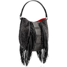 Christian Louboutin Lucky L Hobo ($2,595) ❤ liked on Polyvore featuring bags, handbags, shoulder bags, black leather shoulder handbags, hobo handbags, black fringe purse, fringe purse and leather handbags