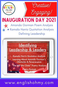 """Are you looking to teach a lesson on leadership and 2021 Inauguration Day? Kamala Harris and Amanda Gorman displayed true leadership during the inauguration-Kamala as the first female vice president, and Amanda Gorman with the presentation of her poem, """"The HIll We Climb"""". Your students will define leadership, analyze poetry, answer poetry comprehension questions, complete a figurative language scavenger hunt, and analyze a quotation by Kamala Harris. #poetry #englishteachers"""