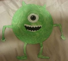 Little Mini Makers: Singapore's Creative Learning & Crafts for Toddlers & Kids: Monsters University: Mike Wazowski Paper Plate Craft