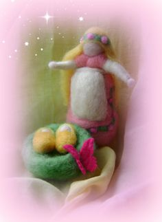 Waldorf Spring Mother with twins Needle felted by softearthart, $20.00