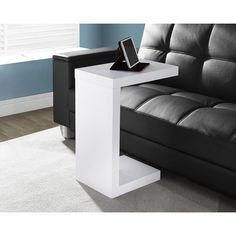White Hollow-core Accent Table