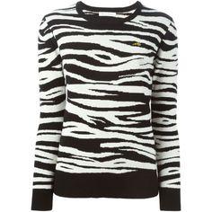 Bella Freud Zebra Knit Sweater ($571) ❤ liked on Polyvore featuring tops, sweaters, black, black knit sweater, zebra print sweater, knit tops, knit sweater and zebra print tops