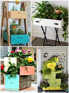 #DIY Old Drawer #Planter Instructions-20 DIY Upcycled Container #Gardening Planters Projects