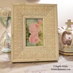 Romantic Pink Roses Painting Framed Hand Painted Porcelain Canvas 9 X – Artistic Romantic