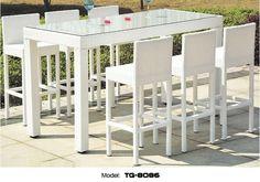Chloe Long-lasting Garden Furniture Modern Alum PE Rattan Bar Set Leisure Patio Table and Chair