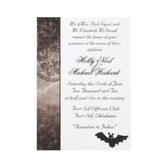 Here's a chic and elegant Halloween wedding invitation that will please the parents while still letting your batty fun side shine through.  Available in several colors.  #Halloween #wedding
