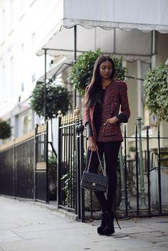 Zara Jacket, Chanel Bag, Kurt Geiger Ankle Boots