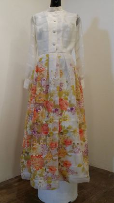 Vintage Maxi Dress, Avalon Classics, 1970s Dress, 1960s Dress, Prairie Dress, Floral Print, Sheer Sleeves, Boho Chic Dress, Floor Length by METROPOLISculture on Etsy