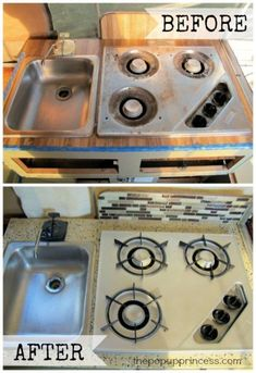 A little high-temp spray paint does wonders. Give your camper stove a couple coats, and it will look brand new again. Camper Hacks, Diy Camper, Truck Camper, Camper Trailers, Camper Life, Travel Trailers, Camper Table, Popup Camper Remodel, Camper Renovation