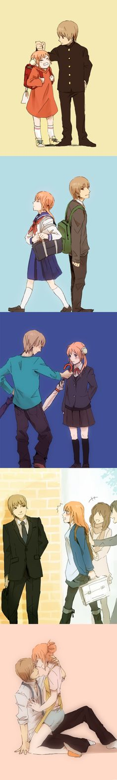 Anime: Gintama Personagens: Okita Sougo e Kagura Anime Couples Drawings, Couple Drawings, Manga Anime, Anime Art, Neji E Tenten, Gintama, Okikagu, Another Anime, Shoujo