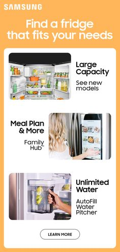 Store more, shop less and get unlimited access to clean, filtered water and ice with Samsung Refrigerators.