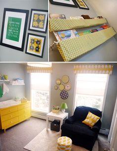 Gray, yellow, and navy; yellow dresser