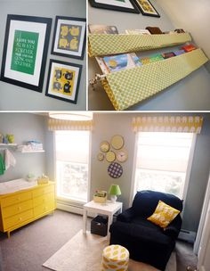 very creative books shelves made from curtain rods, and the yellow dresser with numbered pulls is very cute too.