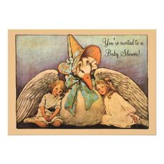 Vintage Mother Goose Children Twins Baby Shower Personalized Invitation!