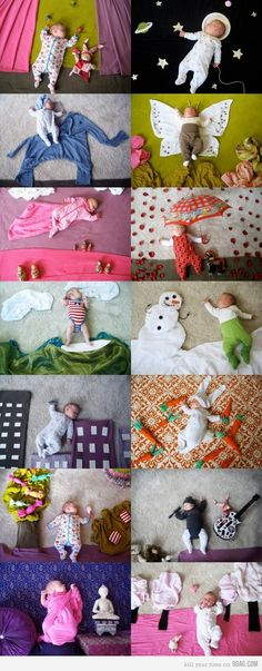 The woman who took these photos is Adele Enerson. She has a book out now with this collection of pictures called  WHEN MY BABY DREAMS. This would be a fun photo idea to do when jack comes. Make-up a different scene for each monthly progress picture :)
