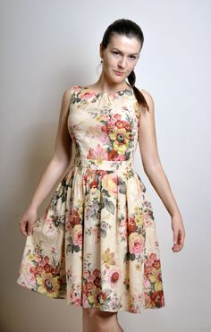 Floral Day dress Cotton voile Made to Order por atelierMANIKA