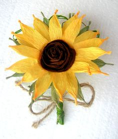 Sunflower boutonniere Crepe paper flowers by babyshowerflowers