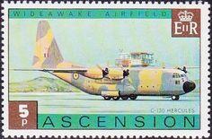 Stamp: Royal Air Force C-130 Hercules (Ascension Island) (Wideawake Airfield) Mi:AC 186,Sn:AC 186,Yt:AC 187